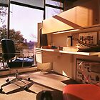Cubicle Office with Red Side Chair by Jay Gross