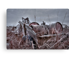 Old wagon in field Canvas Print