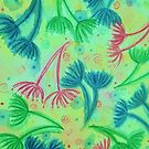 COW PARSLEY - Bright Cherry Acid Green Teal Blue Nature Floral Abstract Watercolor Painting Pattern by EbiEmporium