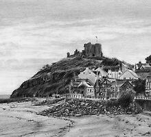 Criccieth Beach Wales UK Pencil Drawing by daverives