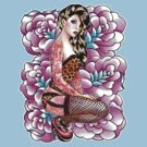 Tattooed Pin Up Girl with Roses by MissCarissaRose