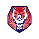 Crossfit Training Athlete Rings Retro  by retrovectors