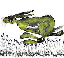 RUNNING HARE  by Hares and Critters