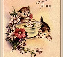 Kittens Get Well Greeting Card by Yesteryears