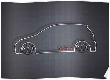VW GTI MkV Silhouette  (light prnt) by Benjamin Whealing
