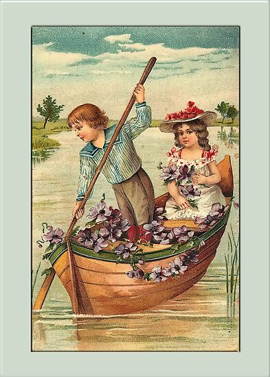 Girl and Boy in Boat Greetings by Yesteryears