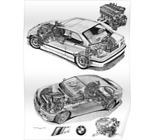 BMW M3 Cutaways E36 and E46 with engines Poster