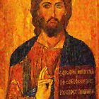 icon of the savior pointillism by Adam Asar