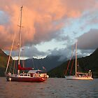 Boats at Moorea by Jennifer Eurell