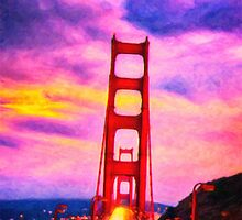 The red bridge and the yellow moon by Adam Asar