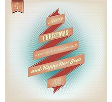 Vintage Grunge Christmas And Happy New Year On Red Ribbon Photographic Print