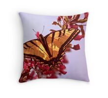 Tiger Swallowtail with CrabApple Blossoms Throw Pillow