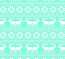 Tiffany Mint Holiday Ugly Sweater Moose Pattern by RexLambo