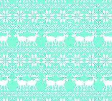 Tiffany Mint Holiday Ugly Sweater Moose Pattern by RexLambo