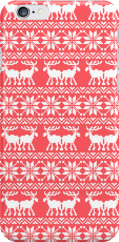 Red Ugly Holiday Sweater Moose Pattern by RexLambo