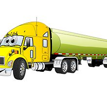 Semi Truck Yellow Green Tanker Truck Cartoon by Graphxpro