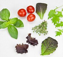 green Salad and spices and tomatoes by Joana Kruse