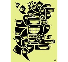 Happy Squiggles - 1-Bit Oddity - Black Version Photographic Print