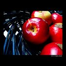 Malus Domestica - Red McIntosh Apples In Blue Wicker Basket by  Sophie Smith