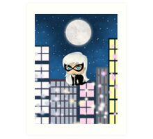 Chibi Black Cat Art Print