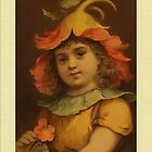 Vintage Pansy Child Greetings by Yesteryears