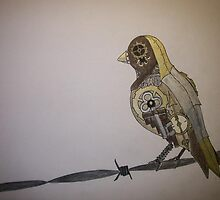 Steampunk Bird On A Wire by Sabrina Wagganer