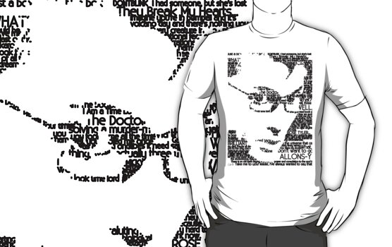 David Tennant 10th Doctor Word Portrait T-Shirt by hdcantona