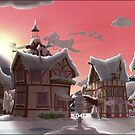 Ponyville, Dawn, Snowy by Stinkehund