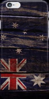 Vintage Australia Flag - Cracked Grunge Wood by UltraCases