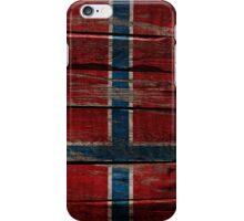 Vintage Norway Flag - Cracked Grunge Wood iPhone Case/Skin