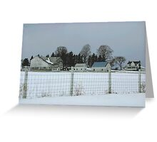 White Farm on a Gray Day Greeting Card