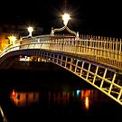 Ha'Penny Bridge At Night by Denise Abé