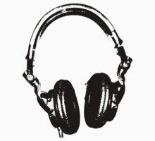 DJ Headphones Stencil Style by humanwurm