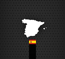 Spain Flag and Map - Black Stripe on Dark gray by UltraCases