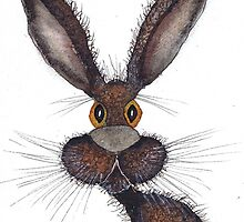BROWN HARE h2304 by Hares and Critters