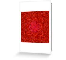 rashim red lace mandala Greeting Card