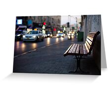 empty bench and busy road Greeting Card