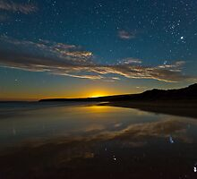Parsons Beach Moonset by pablosvista2
