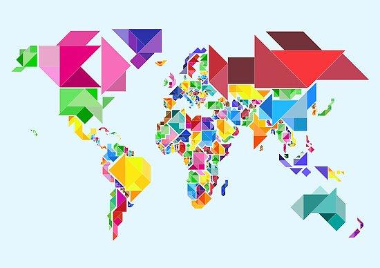 Tangram Abstract World Map by Michael Tompsett