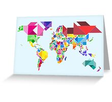 Tangram Abstract World Map Greeting Card