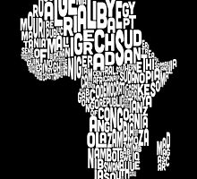 Map of Africa Map Text Art by Michael Tompsett