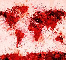 World Map Paint Splashes Red by ArtPrints