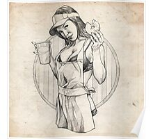 Coffee Girl Pinup Girl Sketch Poster