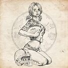 Football Pinup Girl Sketch by Brent Schreiber