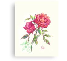 Miniature Red Roses in the Garden Canvas Print