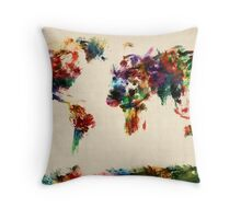 Map of the World Map Abstract Painting Throw Pillow