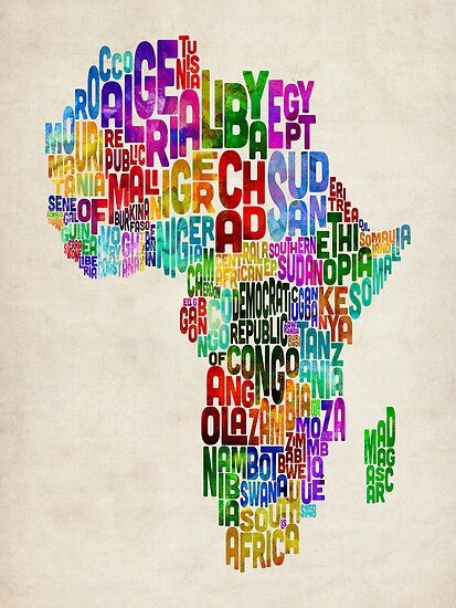 Typography Map of Africa by Michael Tompsett