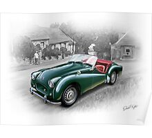 Triumph TR-2 Sports Car in British Racing Green Poster