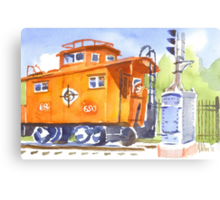 Red Caboose with Signal  Canvas Print