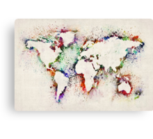 Map of the World Paint Splashes Canvas Print